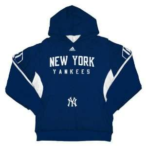 New York Yankees Youth Adidas Navy 3 Stripe Hooded Sweatshirt