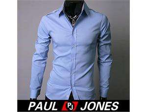 2012 Stylish Mens Casual Patch Slim fit Long Sleeve Formal Shirt