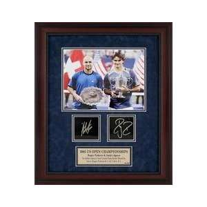 Andre Agassi & Roger Federer Etched Replica Autograph Memorabilia