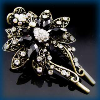 , 1 antiqued crystal rhinestone butterfly hair clamp cli