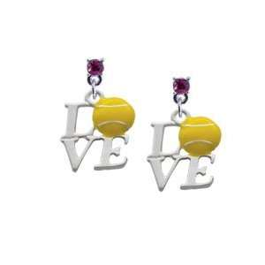 Silver Love with Tennis Ball Hot Pink Swarovski Post Charm