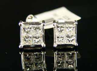 14K MENS LADIES PRINCESS CUT DIAMOND STUD EARRINGS 1.25