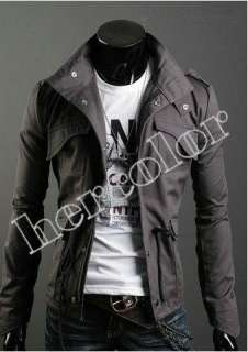 Men Casual Top Designed Slim Fit Zip Jacket Coat 3color M L XL XXL