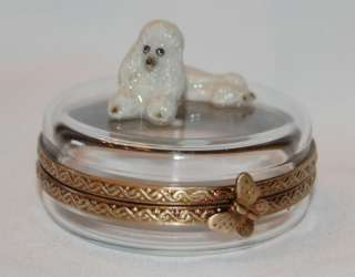 Limoges Porcelain Poodle Dog on Crystal Trinket Box