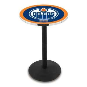 42 Edmonton Oilers Bar Height Pub Table   Round Base