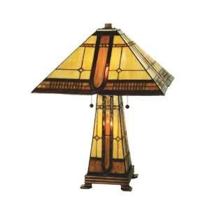 Meyda Tiffany 50805 Sierra Prairie   Three Light Table Lamp, Mahogany