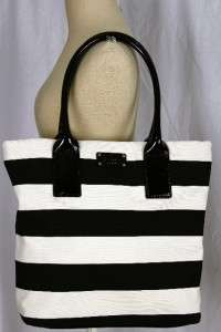 KATE SPADE JUBILEE STRIPE LARGE BON SHOPPER BLACK CREAM BAG TOTE NWT