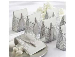 Ribbon Wedding Favor Candy Boxes Silver Wedding Party Gift Box