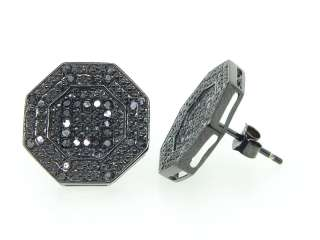 MENS LADIES BLACK GOLD FINISH 0.40 CT OCTAGON SHAPE BLACK DIAMOND