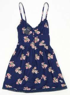 Abercrombie Kids GIRLS NWT Navy Floral Lace Trim Dress Large 11/12