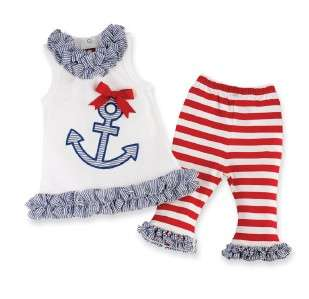 Mud Pie Boathouse Baby Bow Nautical Flip Flops