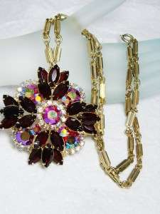 Vintage Deep Ruby Red & Aurora Borealis Rhinestone Pendant Necklace