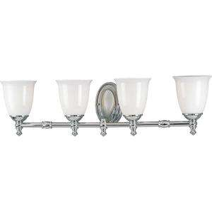 Progress Lighting Victorian Collection Chrome 4 Light Vanity Fixture