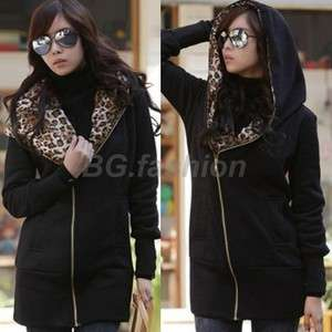 Womens Leopard Hoodie TOP Fleece Jacket Sweatshirt Black 8 10 12