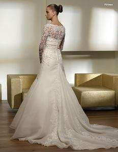 long lace sleeve wedding dress bridal gown size color