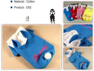 Pet&Dog Clothes Bunny Ears Hoodie Shirt Rabbit Coat,C62