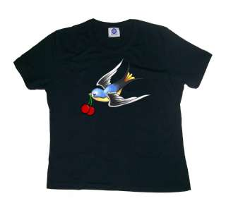 SWALLOWS CHERRY ROCKABILLY TATTOO T SHIRT TOP goth