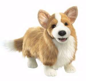 BRAND NEW* PLUSH SOFT TOY Folkmanis Corgi Dog Full Body Hand Puppet