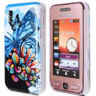 BLUE FLOWER BUTTERFLY GLOSSY SHINY IMD CASE COVER FOR SAMSUNG TOCCO