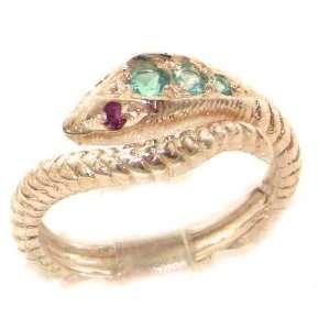 Fabulous Solid Rose Gold Natural Blue Topaz & Ruby Detailed Snake Ring