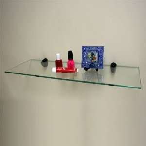 Clear Tempered Glass Shelf Kit with Black Brackets