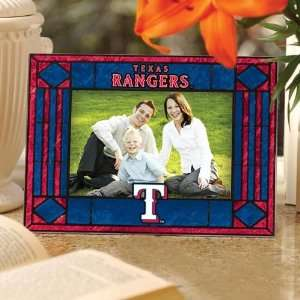 Texas Rangers Navy Blue Art Glass Horizontal Picture Frame