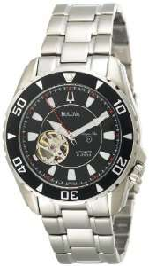 Bulova Mens 98A105 Marine Star Automatic Black Dial Watch Bulova