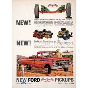 1965 Ad Ford Pickup Truck Six Airplane Farming West V8 Vehicle Engine