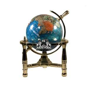 Tripod Gold Leg Table Stand Gemstone World Map Globe