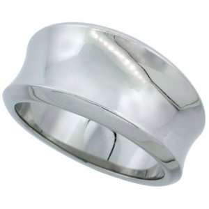 Surgical Steel Concaved Cigar Band Ring Mirror Polished Finish Beveled