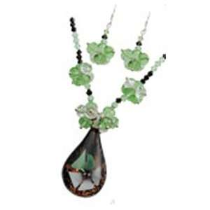 Fashion Jewelry ~ Murano Glass Deluxe Set ~ Green White Flower