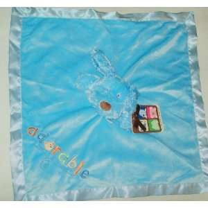 Baby Baby Nunu Blue Dog Plush Satin Adorable Lovey Blanket