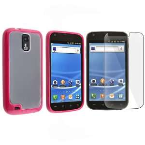 Clear with Hot Pink Trim TPU Rubber Skin Case with Free