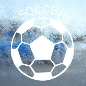 Soccer Ball Futbol White Decal Car Window Laptop White