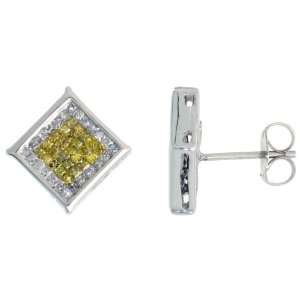 14k White Gold Square Diamond Stud Earrings, w/ 0.75 Carat