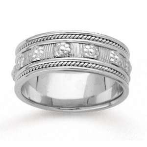 14k White Gold Floral Milgrain Hand Carved Wedding Band Jewelry