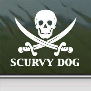 Scurvy Dog Skull White Sticker Car Vinyl Window Laptop White