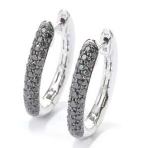 14K White Gold Black Diamond Hoop Earrings Jewelry