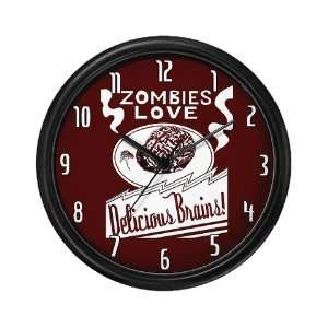 Zombies Love Delicious Brains Wall Art Clock