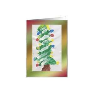 Christmas Tree Painting by Child Card Health & Personal