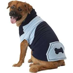 Pup Crew Blue Bone Fleece Dog Hoodie, X Small  Pet