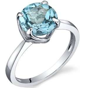 Sublime Solitaire 2.25 Carats Swiss Blue Topaz Ring in Sterling Silver