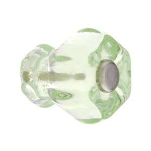 Small Hexagonal Depression Green Glass Cabinet Knob With