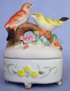 Hand Painted PORCELAIN SONG BIRDS TRINKET BOX JAPAN