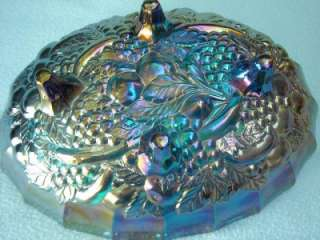 Blue Carnival Glass Bowl Vintage w Grapes Retro 12