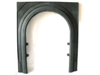 ANTIQUE ART DECO CAST IRON FIREPLACE DOOR ARCH FRAME STARBURST FAN
