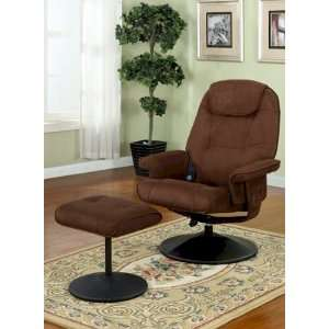 2PC Upholstered Vibrating Shiatsu Massage Recliner Chair With Ottoman