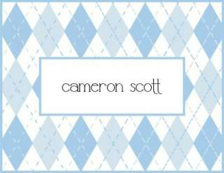 Custom Personalized Argyle Baby Note Cards Stationery